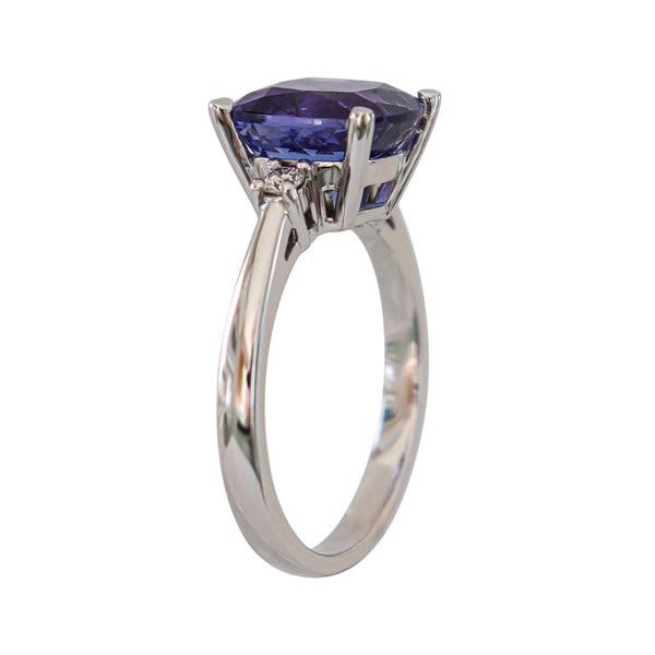 Square Tanzanite and Diamond Ring