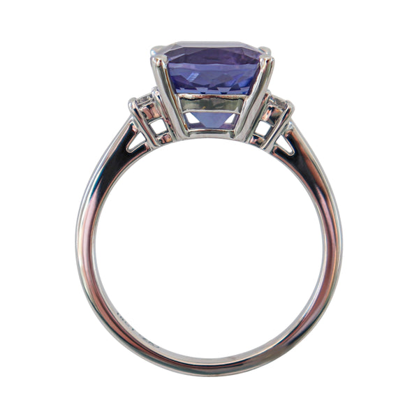 Cushion Tanzanite and Diamond Ring set in 18 kt White Gold