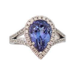 9 kt White Gold Pear Tanzanite and Diamond Ring