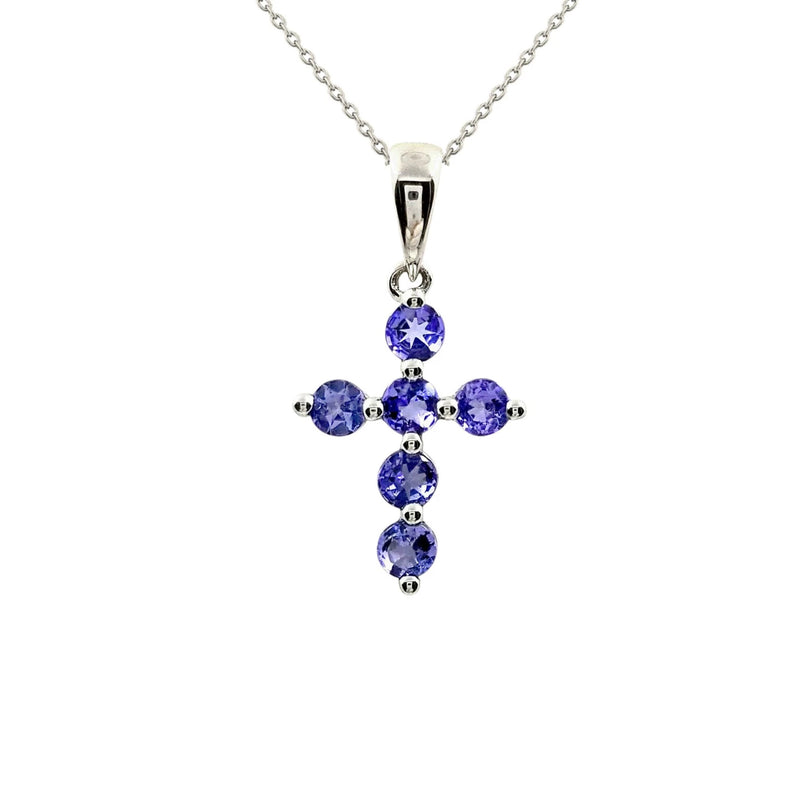 9 kt White Gold Cross pendant with Tanzanite - Cape Diamond Exchange