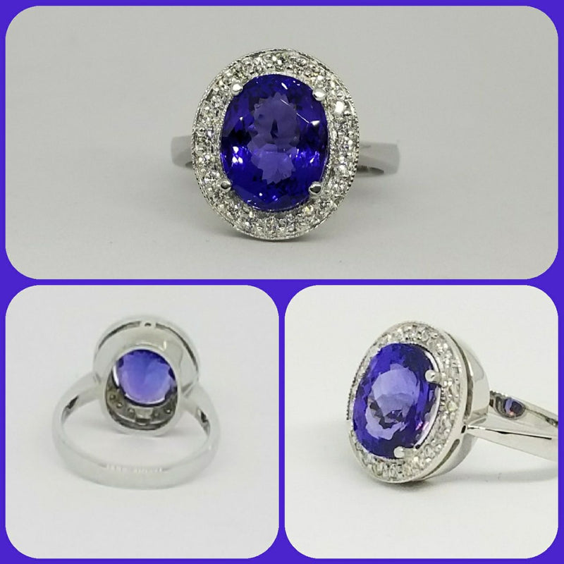 18kt White Gold Halo Oval Tanzanite Ring with Diamonds