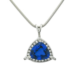 18 kt White Gold Lavish Trillion Tanzanite Pendant - Cape Diamond Exchange