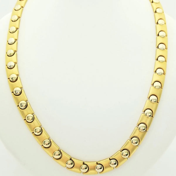 18kt Yellow Gold Circled Two Tone Matt and Shiny Necklace