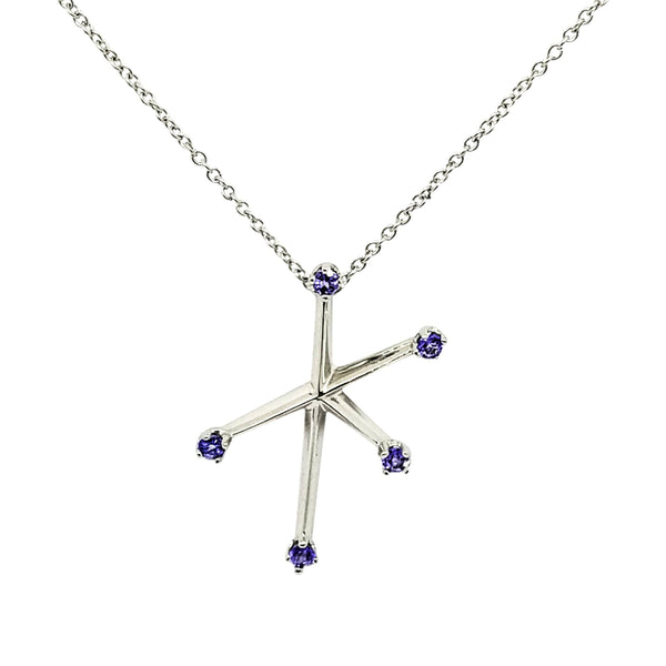 18 kt White Gold Southern Star Cross with Tanzanite stones - Cape Diamond Exchange