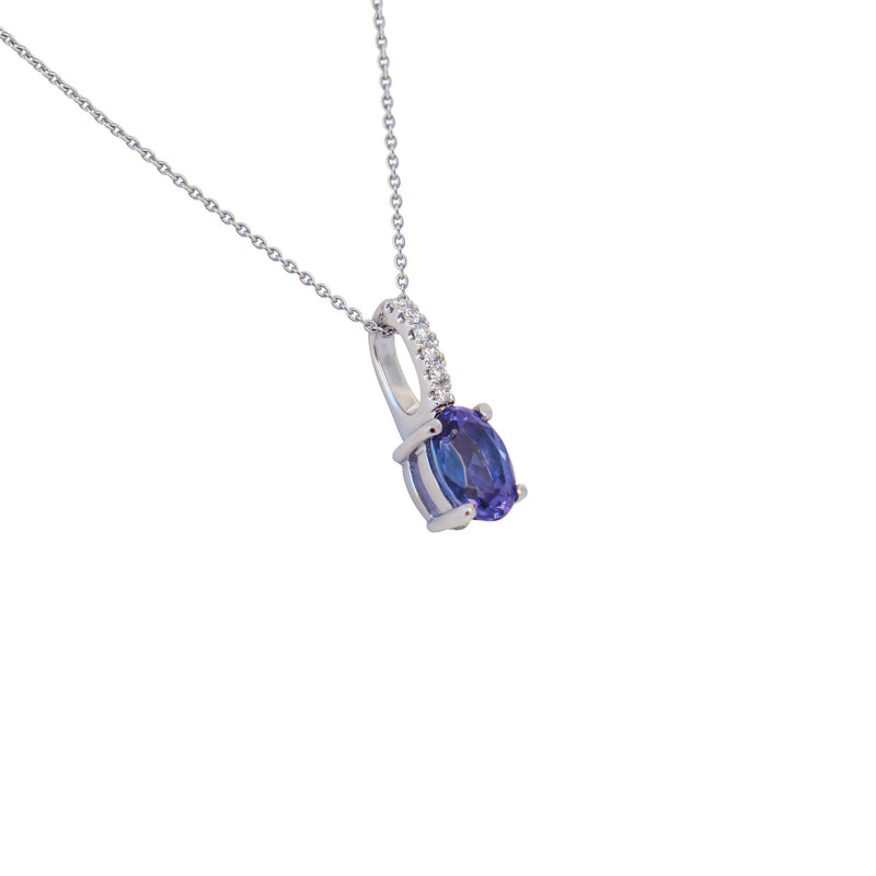 9 kt White Gold Tanzanite and Diamond Pendant