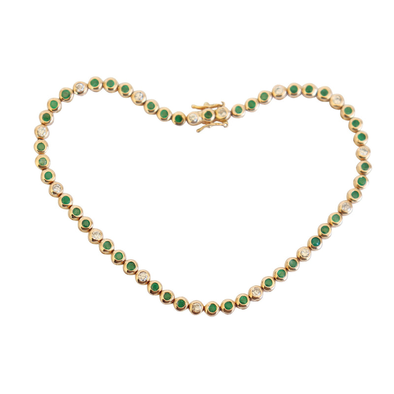 Bezel-set Diamond and Emerald Bracelet - Cape Diamond Exchange