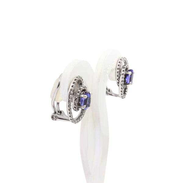 Twirl Diamond and Tanzanite Earrings in White Gold