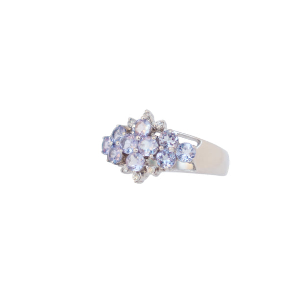 Cluster Ring with Tanzanites and Diamonds - Cape Diamond Exchange