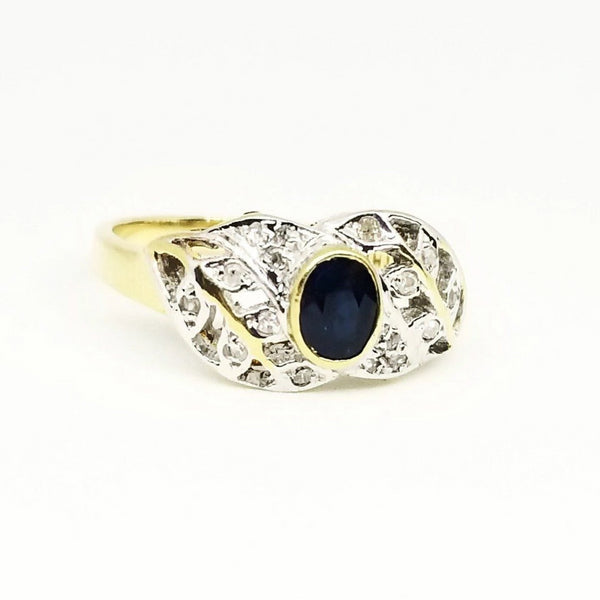 9 kt Yellow Gold Diamond and Sapphire Ring - Cape Diamond Exchange