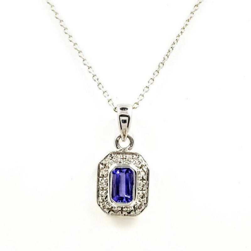 9 kt White Gold Tanzanite and Diamonds Rectangle Pendant - Cape Diamond Exchange