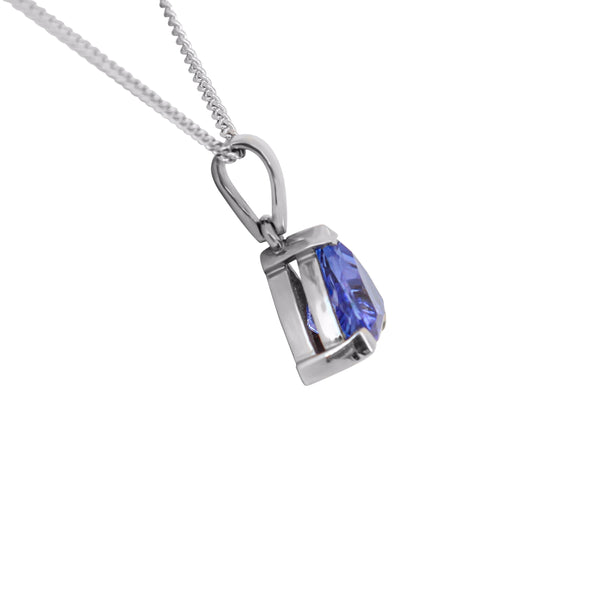 Trillion Tanzanite Pendant in 18 kt White Gold