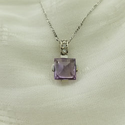 18 White Gold Amethyst and Diamonds Pendant - Cape Diamond Exchange