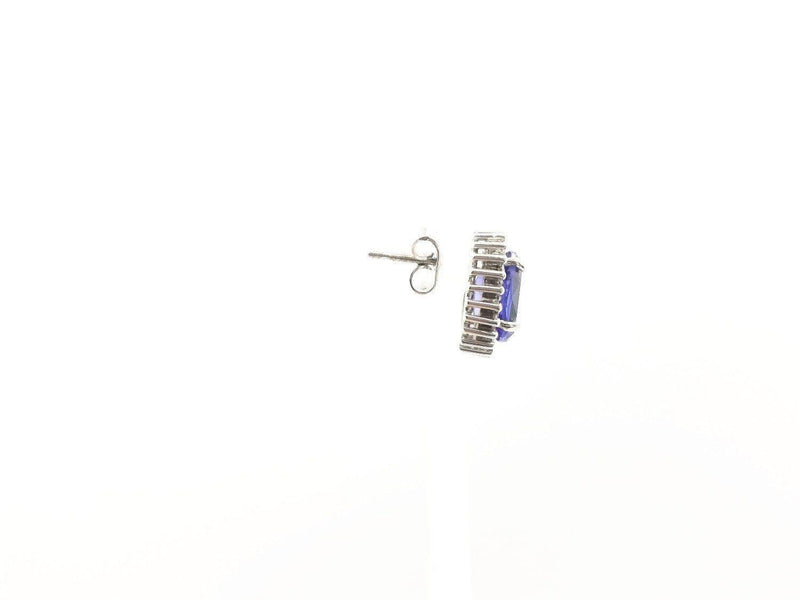 18 kt White Gold Halo Tanzanite and Diamond Earrings - Cape Diamond Exchange
