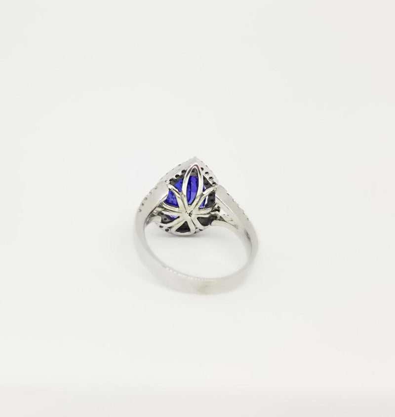 18 kt White Gold Pear Shape Tanzanite and Diamonds Halo Ring - Cape Diamond Exchange