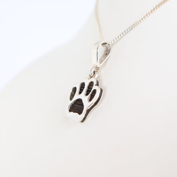 Silver Paw Pendant with Elephant Hair
