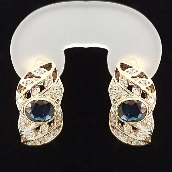 Yellow Gold leafy style Earrings with Diamonds and Sapphire center stone