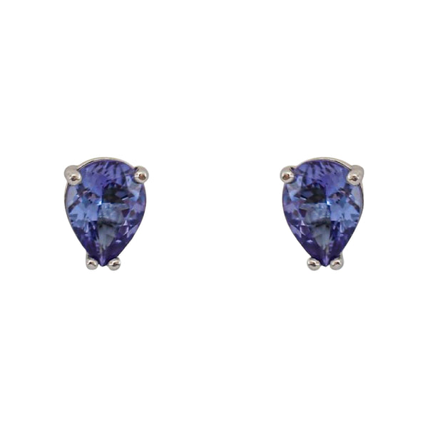 Four Prong White Gold Pear Tanzanite Earrings - Cape Diamond Exchange