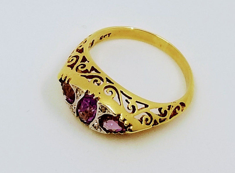 9 kt Yellow Gold Amethyst and Diamond Vintage Ring - Cape Diamond Exchange