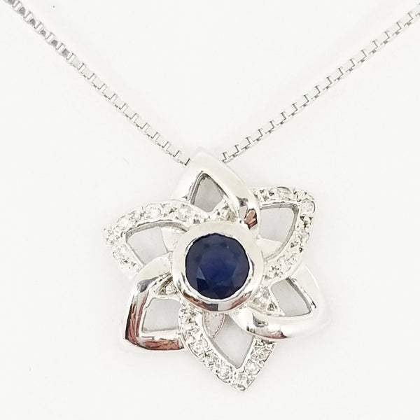 18Kt White Gold Sapphire and Diamonds Pendant. - Cape Diamond Exchange
