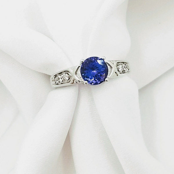 Round Tanzanite Center Stone Ring