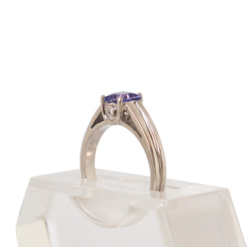 Princess Tanzanite and Diamond Ring in 18 kt White Gold - Cape Diamond Exchange