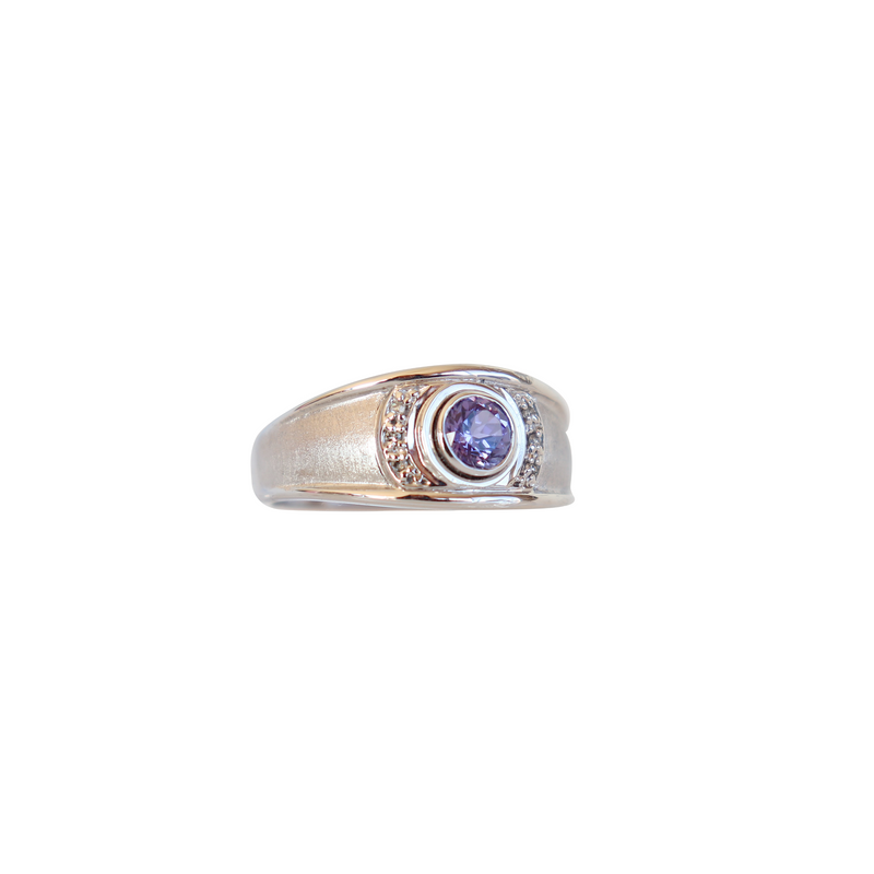 Satin Finish Tanzanite and Diamond Ring in 18 kt White Gold - Cape Diamond Exchange