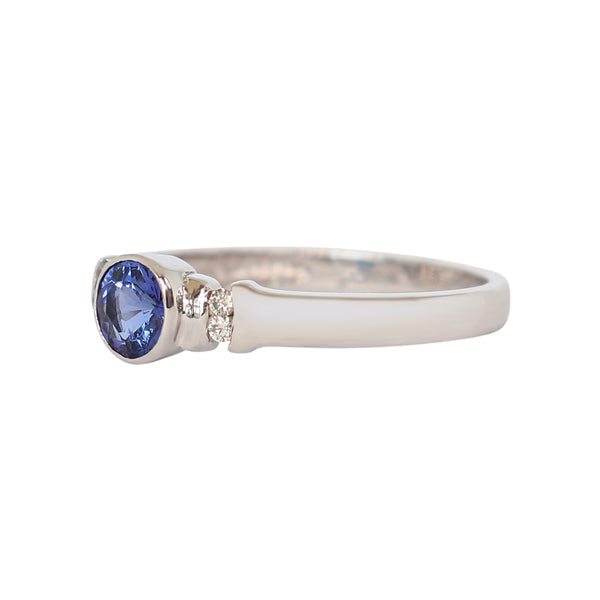 18 kt White Gold Bezel-set Tanzanite and Diamond Ring - Cape Diamond Exchange