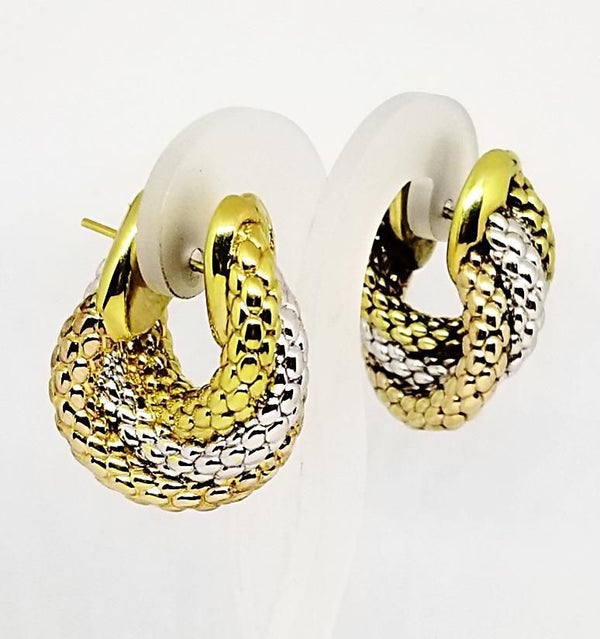 3 color 18 kt Gold Fope Link Earrings - Cape Diamond Exchange