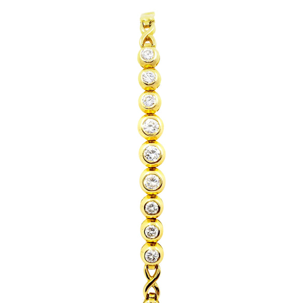 18 kt Yellow Gold Tennis Bracelet with Diamonds - Cape Diamond Exchange