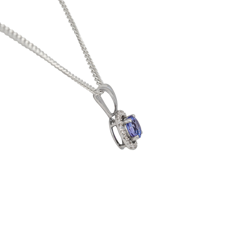Halo Pendant with Tanzanite and Diamonds