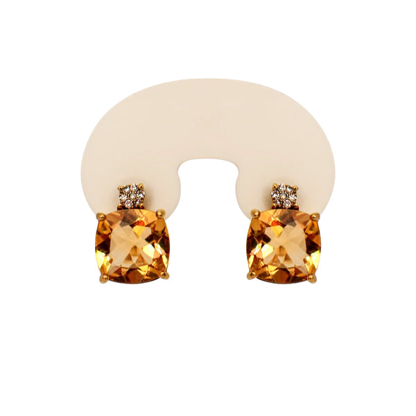 Citrine and Diamonds Earrings