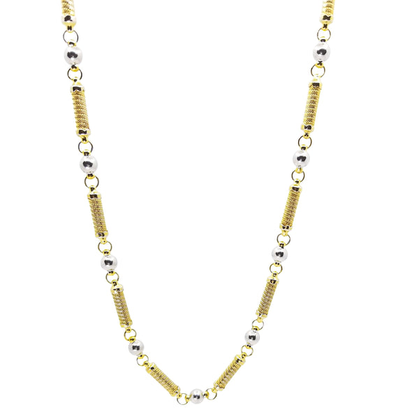 9 kt Yellow Cylinder and White Gold Balls Necklace - Cape Diamond Exchange