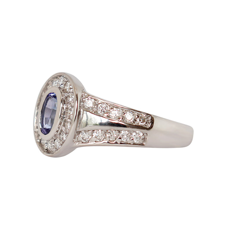 Oval Tanzanite Split Band with Diamonds in 18 kt White Gold - Cape Diamond Exchange