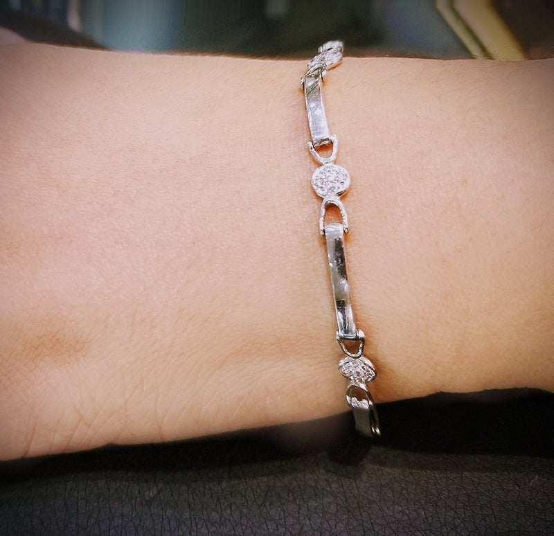 9 kt White Gold bracelet with Cubic Zircon - Cape Diamond Exchange