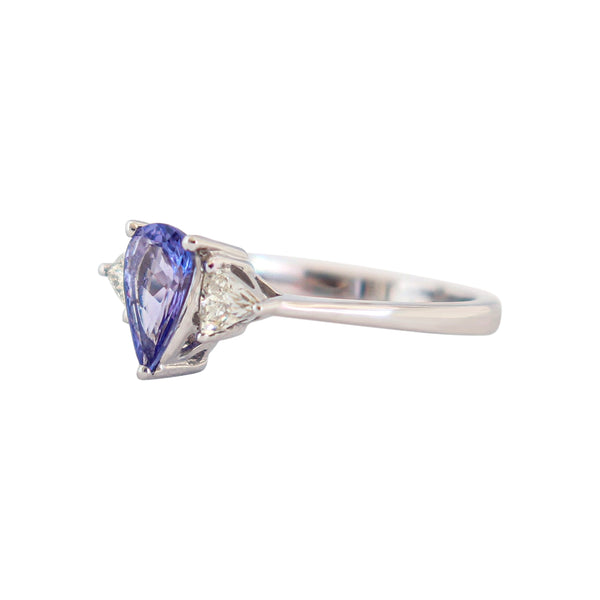 Trilogy Ring with a Pear Tanzanite and Trillion Diamonds