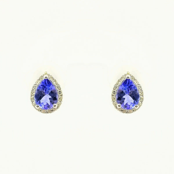 9 kt White Gold Halo Pear Shape Tanzanite and Diamond Earrings - Cape Diamond Exchange