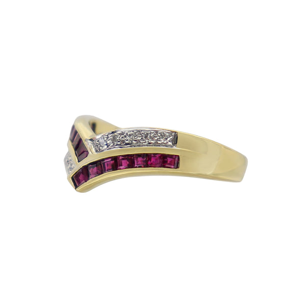 Princess Rubies and Diamond ring in Yellow Gold
