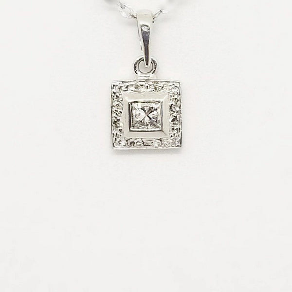 Square Diamond Pendant in White Gold and A Princess Cut center diamond
