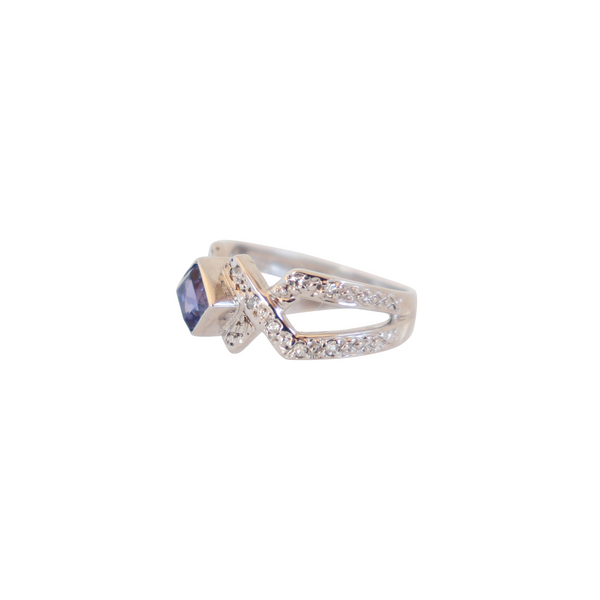 Split-band Ring with Tanzanite and Diamonds in a Criss-Cross Design - Cape Diamond Exchange