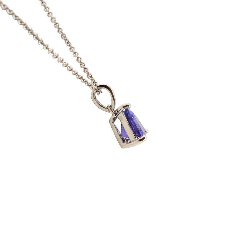 18 kt White Gold Trillion Tanzanite Pendant