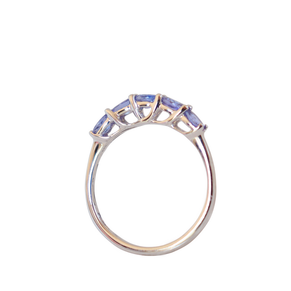 Half Eternity Ring set with Tanzanites in 9 kt White Gold - Cape Diamond Exchange