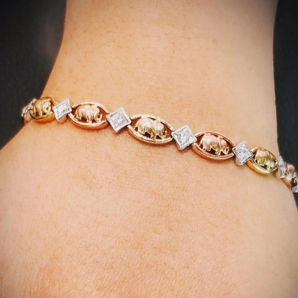 14 kt Tri Color Elephant Bracelet with Cubic Zircon - Cape Diamond Exchange