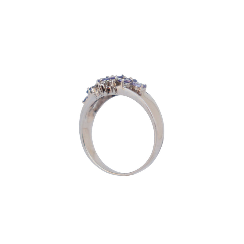 White Gold Cluster ring With Diamonds and Tanzanites - Cape Diamond Exchange