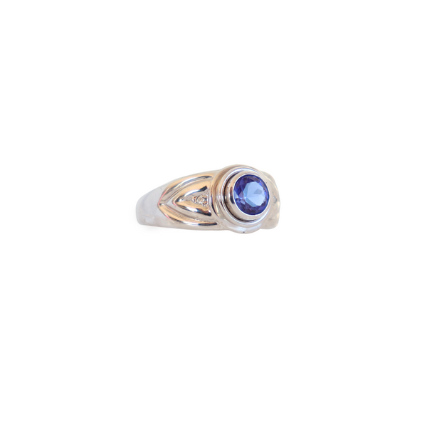 Round Tanzanite Solitaire ring with Diamonds - Cape Diamond Exchange
