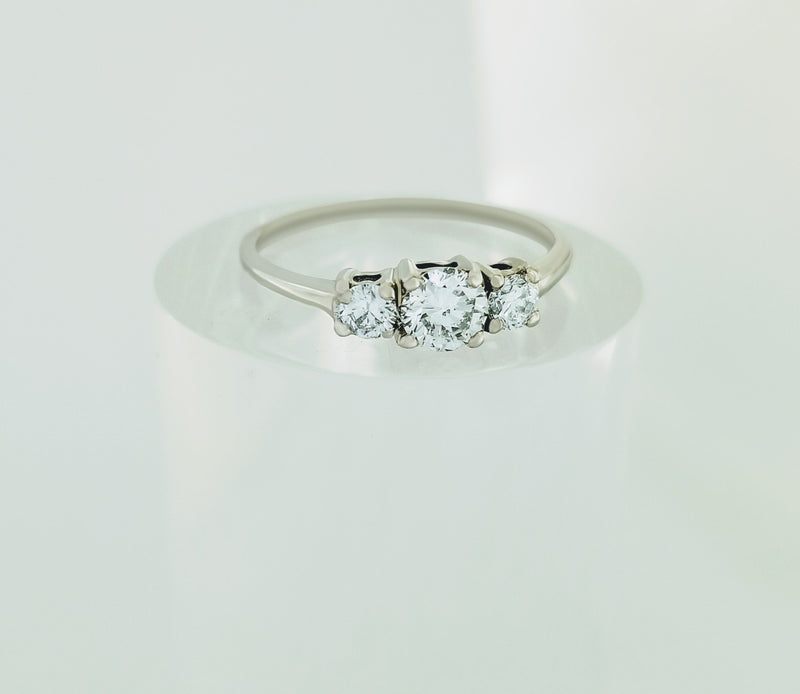9 kt White Gold Trilogy Engagement Ring - Cape Diamond Exchange