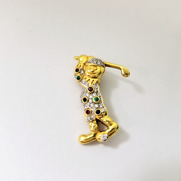 18 kt Yellow Gold Golfer Brooch with Diamonds and Gemstones - Cape Diamond Exchange