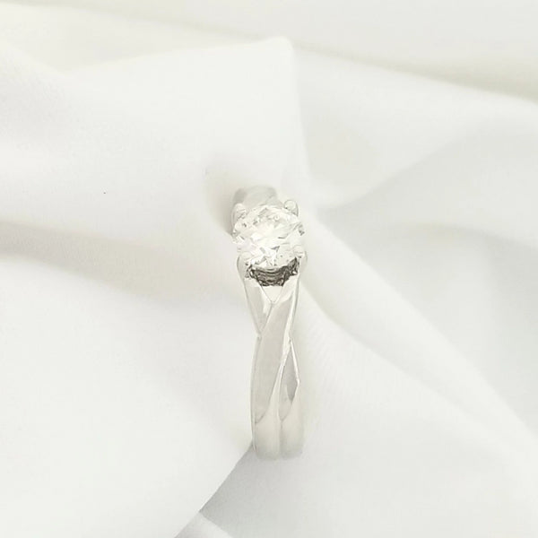 Solitaire Diamond Ring Cross Over Band - Cape Diamond Exchange