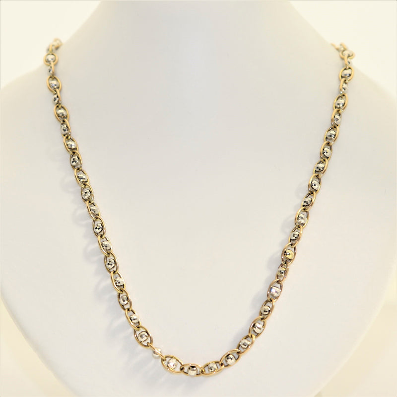 9kt Yellow Gold 45cm Two Color Ball Chain