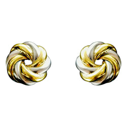 18 kt Yellow and White Gold Round Wavy Earrings - Cape Diamond Exchange