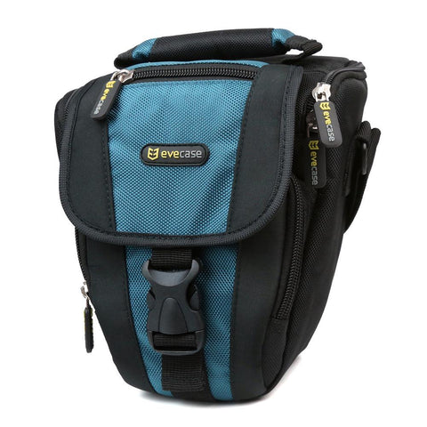 Evecase Camera Pouch Nylon Case with Strap - Black/Blue